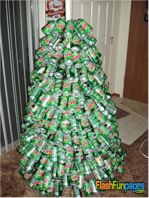 christmas tree made out of mountain dew cans