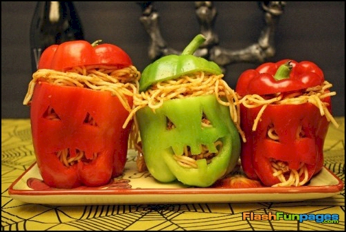 funny Halloween food peppers